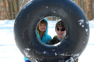 My daughter and nephew having fun on a winter day