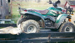 The 7-point was no match for dad's new 4-wheeler!